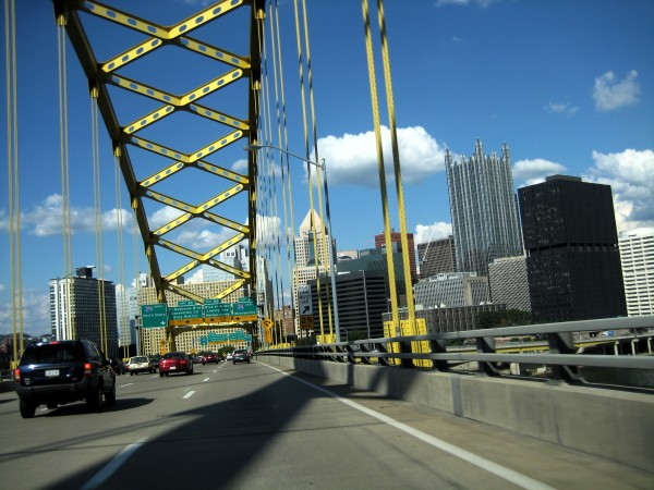 Downtown Pittsburgh from the Ft Pitt Bridge (photo from Wikimedia Commons)