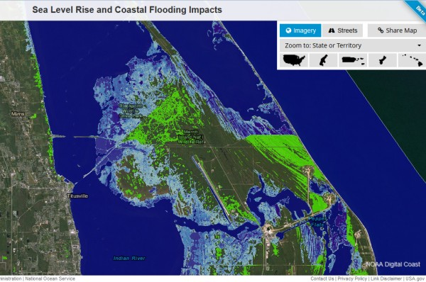 Map of Merritt Island with two feet of sea level rise (screenshot from NOAA Climate Sea Level Mapping Tool)