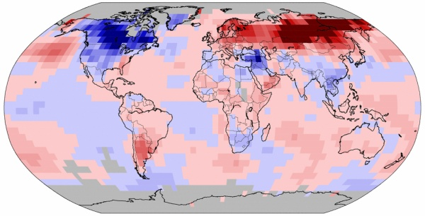 Land and ocean temperature anomalies, Dec 2013 (image from NOAA National Climatic Data Center)