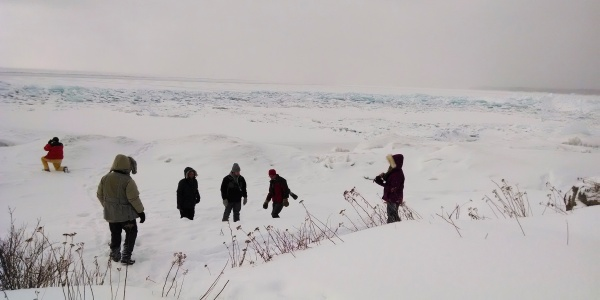 Walking on Lake Superior, 16 Feb 2014 (photo by Kate St. John)