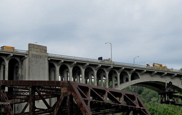Westinghouse Bridge with PennDOT bucket truck about to look for pereg
