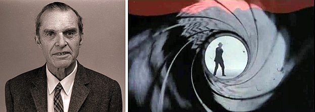 James Bond (ornithologist) and screenshot from James Bond 007 Dr.No (images from Wikimedia Commons)