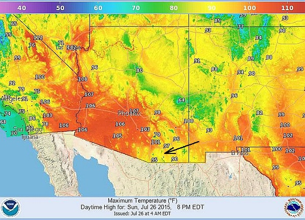 High temperatures in Arizona, 26 July 2015 (image from NOAA National Weather Service)